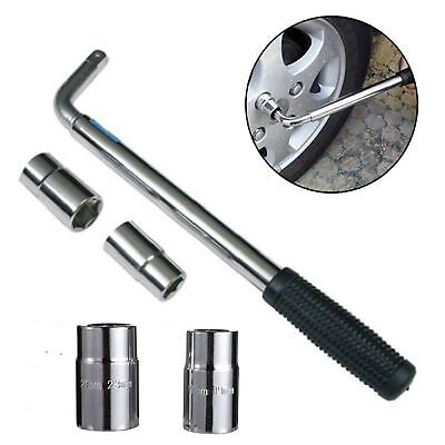 Extendable Wheel Brace Wrench Telescopic Car Van Socket Nut 17/19/21/23mm Silver