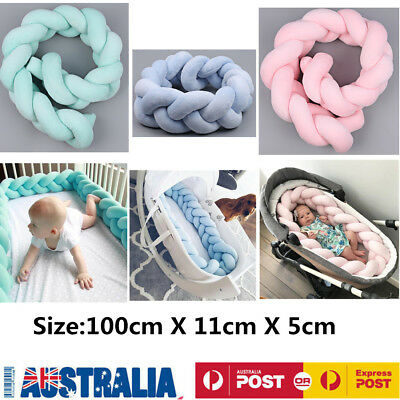 1M Baby Infant Plush Crib Bumper Bed Bedding Cot Braid Pillow Pad Protector
