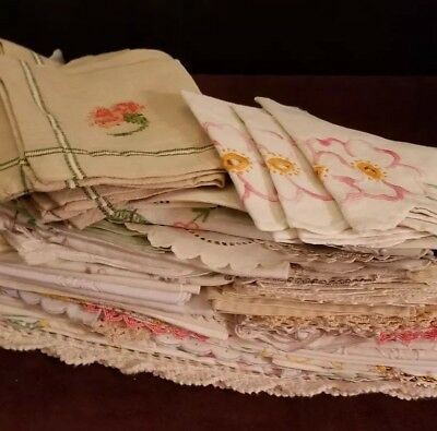 Vintage And Antique Linen Lot In Good Condition 79 Pieces