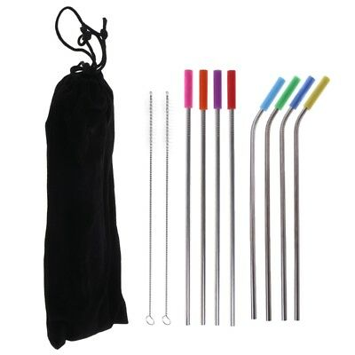 8pcs Stainless Steel Drinking Straws Reusable With Silicone Tips Clean Brush