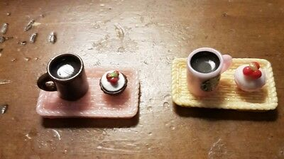 Miniature dolls house accessories Starbucks Hot Chocolate and Cupcake on a Tray