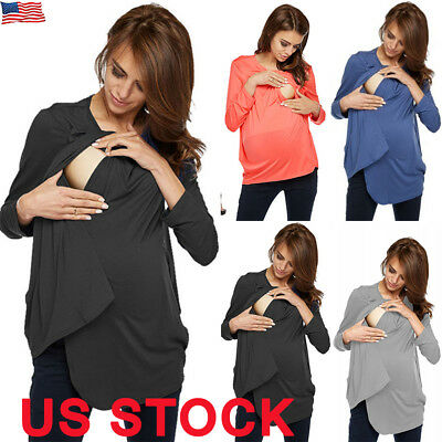 US Women Pregnant Maternity Clothes Nursing Tops Mom Breastfeeding T-Shirt Top