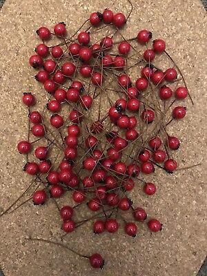 144x Fake Holly Red berries christmas wreath cardmaking Craft joblot Fruits Stem