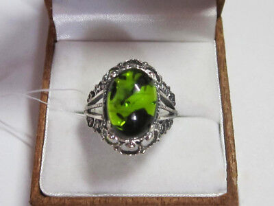 Vintage Beautiful Ring With GREEN AMBER Sterling Silver 925 Size 8 Jewelry