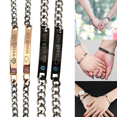 Pair Stainless Steel Couple Chain His Hers Bracelet Wristband Matching Gift Set