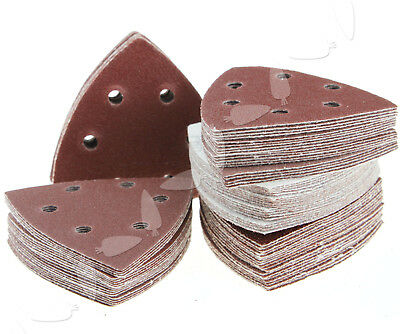 100x Triangle Sanding Discs Pads 40-120 Mix Grit 6 Hole Sandpaper Back