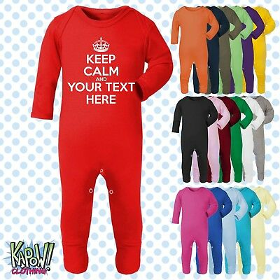 KEEP CALM CARRY ON Baby Grow ROMPER Sleep Suit-CHOOSE OWN TEXT-Personalise-Funny