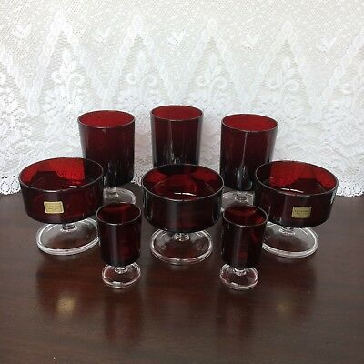 Luminarc France Verrerie D'Arques Red Glass Mixed Lot 8 Glasses