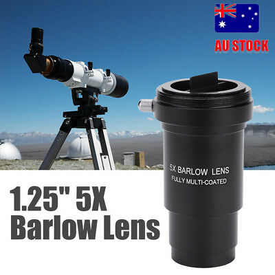 5x Achromatic Barlow Lens 1.25 Inch 31.7mm Metal for Telescope Eyepiece Black AU