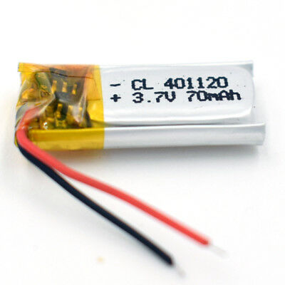 3.7V 70 mAh 401220  LiPo Polymer Battery Rechargeable for GPS Bluetooth MP3
