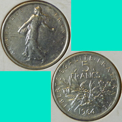 France French Francaise 5 Francs 1964 km 926 Silver 0.3221 oz