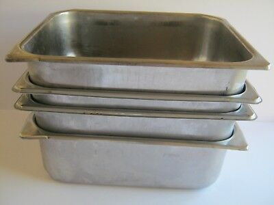"""4 pcs  Steam Table Hotel Pans 1/2 Size 4"""" Deep Stainless Steel NSF 12.5x10.25x4"""