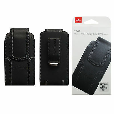 Verizon Black Leather Phone Case Cover Pouch with Belt Clip for Samsung Gusto 3