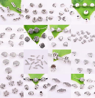Lot Size Wholesale Loose Spacer Charms Beads Metal-Tibetan Silver Various Shape