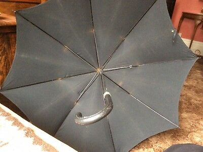 Gents Umbrella True Vintage In Black With Spike Crook Handle In Good Cond. M&s