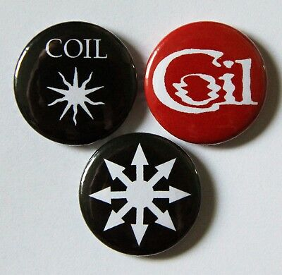3 x 25mm COIL (INDUSTRIAL/EXPERIMENTAL MUSIC) Button Badges - NEW!