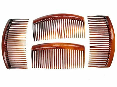 4 Pack 9cm Tort Brown Plain Side Hair Combs Slides Grips Hair Accessories UK