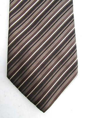 HUGO BOSS NWT Striped Necktie Made in ITALY 100% SILK Taupe, Brown, Black, White