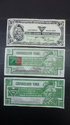 Canadian Tire Money Bills 3 X 5 Cent Different Ages FREE SHIPPING