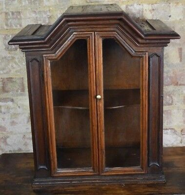 Antique Oak Glazed collectors domed display cabinet storage tabletop