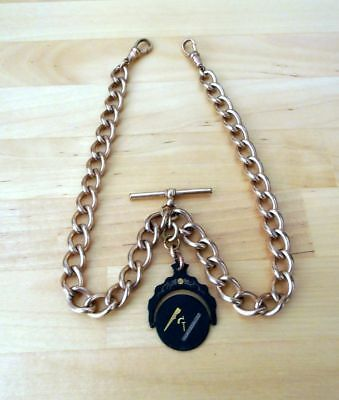 18Ct Rolled/rose Gold Masonic Swivel Fob Pocket Watch /albert Chain
