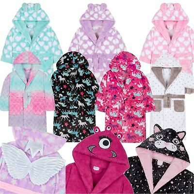 Girls/Kids Soft Plush Fleece Dressing Gowns/Bathrobe Snuggle Cosy Warm Gift 2-13