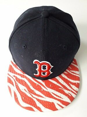 New Era MLB Boston Red Sox Cap 9Fifty Strapback Hat Animal Visor Red Navy VGC
