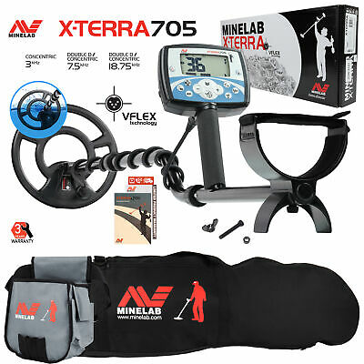 "Minelab X-Terra 705 Metal Detector with 9"" Search Coil, Carry Bag & Finds Pouch"