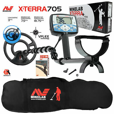 """Minelab X-Terra 705 Metal Detector with 9"""" Search Coil, Black Padded Carry Bag"""