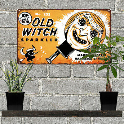 """Old Witch Sparkler Halloween Man Cave Metal Sign 7x12"""" 60603"""