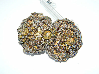 Antique Gilt Silver Filigree BELT BUCKLE w/ Edelweiss Flowers, Bavaria ca.1900s