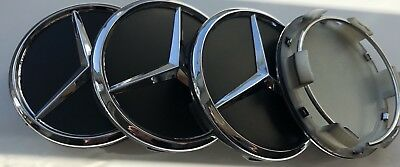 4x BLACK 60 MM OUTER Wheel Centre Caps for Mercedes- Benz .55mm clips dia.