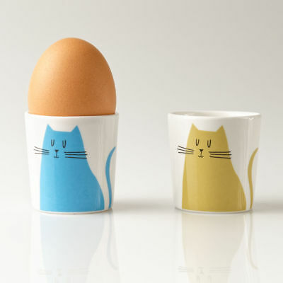 Set of Two Repeat Repeat Happiness Chicken Egg Cups Orange//Green