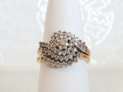 "Bogo ""10K"" .41 Tdw Diamond Cluster Wedding Set Size 7.25 ~ 6.7 Grams~Scrap/wear"