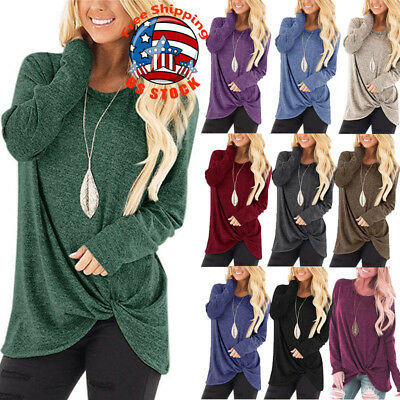 Women Solid O-neck Long Sleeve Pullover Loose T-Shirt Autumn Casual Blouse Tops