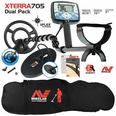 Minelab X-Terra 705 Dual Pack Metal Detector with Black Padded Carry Bag