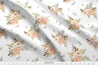 Fawn Deer Woodland Baby Girl Nursery Floral Fabric Printed by Spoonflower BTY