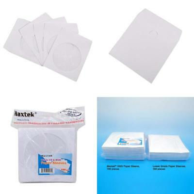 100 Pack Disc Jewel Cases Maxtek Premium Thick White Paper Cd Dvd Sleeves