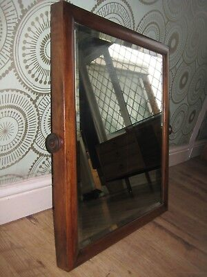 19TH CENTURY GEORGIAN Solid Mahogany Double Bevel Edged Antique Mirror