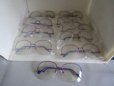 NOS Set Lot of 10 Pair of Vintage Renaissance Purple Blue Eyeglass Frames Italy