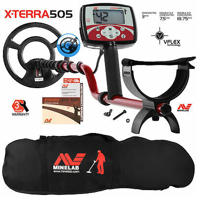 """Minelab X-Terra 505 Metal Detector with 9"""" Search Coil & Black Padded Carry Bag"""