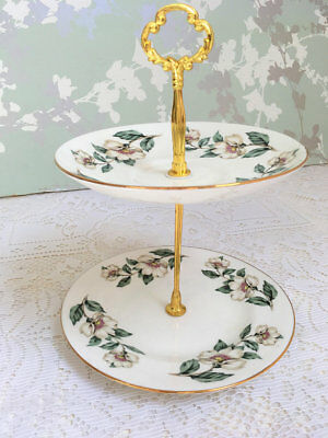 "Crown Staffordshire "" Christmas Rose "" 2 Tier Mini Cake Stand"