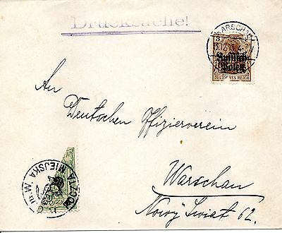 Poland 1915 WWI Germany Occ. Cover & 3pf Sc#N1 & bisected Warsaw local  stamp