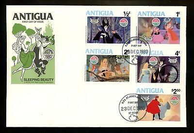 Disney FDC Antigua #592-600 SET OF 2 Christmas 1980 Sleeping Beauty Prince