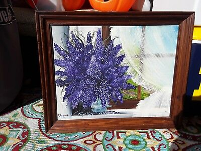 Large Wood Framed Original Painting Of Purple Flowers In Window-Sill!