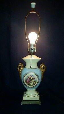 Antique Blue Hand Painted Signed Angelica Kauffman Porcelain Lamp