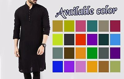Indian Solid Men's 100% Cotton Kurta Plus Size S-7XL {102 Color available}