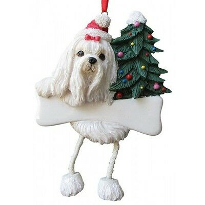 Maltese Dangling Wobbly Leg Dog Bone Christmas Ornament