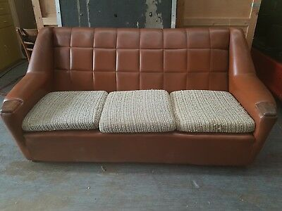 3 Seat Sofa & 1 Armchair 1950's 60's Brown Leather Retro Settee Vintage