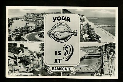 Novelty real photo postcard RPPC Word mystery puzzle fishing Ramsgate UK views